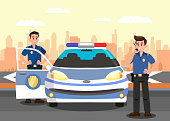Police Officers and Car Flat Vector Illustration. Bodyguards and Police Vehicle Cartoon Characters. Policemen on Mission. Security Service Guard Workers. Guardians at work and Cityscape