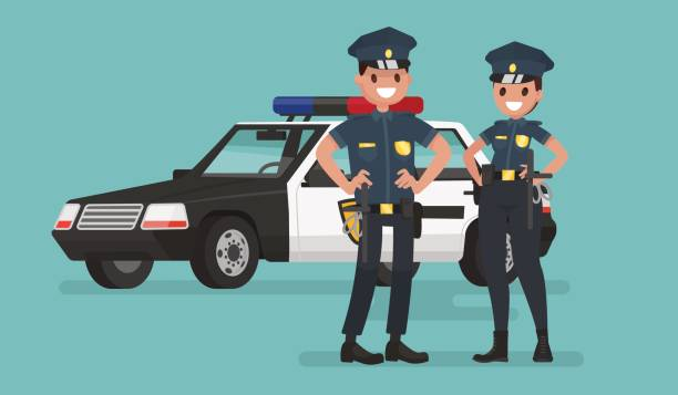 police officers. man and woman. guardians of order. vector illustration - police officer stock illustrations, clip art, cartoons, & icons