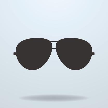 Police or cop sunglasses, glasses. Vector black icon