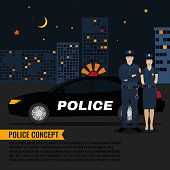 Police car and a night patrol in a city environment. Editable vector illustration in modern flat style. Safety and justice concept.