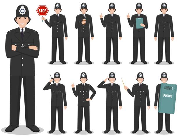 Police people concept. Detailed illustration of british policeman in traditional uniform standing in different poses in flat style isolated on white background. Flat design people characters. Vector. vector art illustration