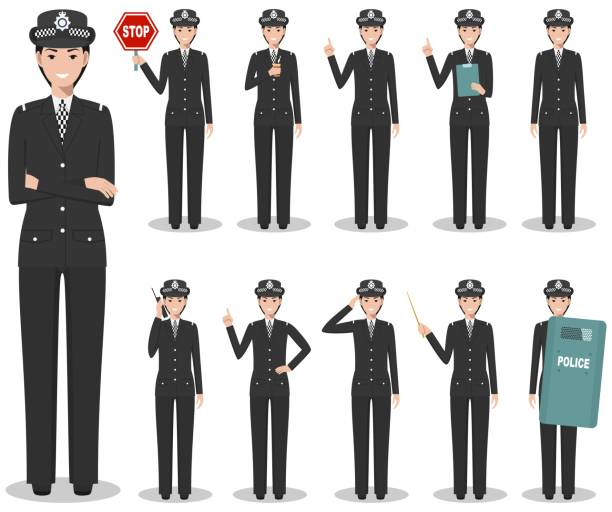 Police people concept. Detailed illustration of british policewoman in traditional uniform standing in different poses in flat style isolated on white background. Flat design people characters. Vector illustration. vector art illustration
