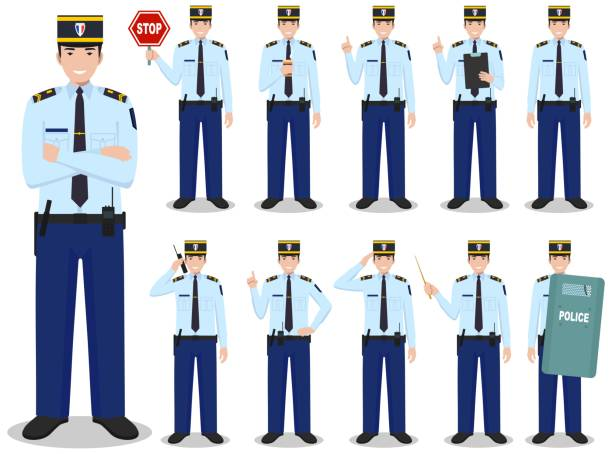 Police people concept. Detailed illustration of french policeman in traditional uniform standing in different poses in flat style isolated on white background. Flat design people characters. Vector illustration. vector art illustration