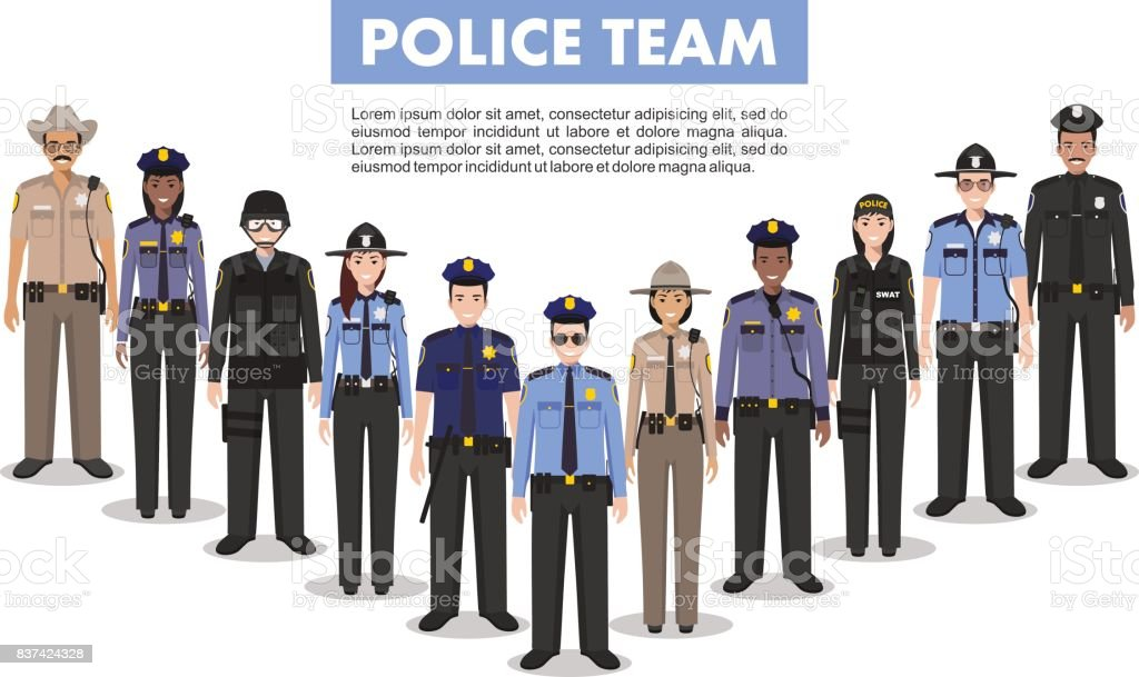 Police people concept. Detailed illustration of SWAT officer, policeman, policewoman and sheriff in flat style on white background. Vector illustration. vector art illustration