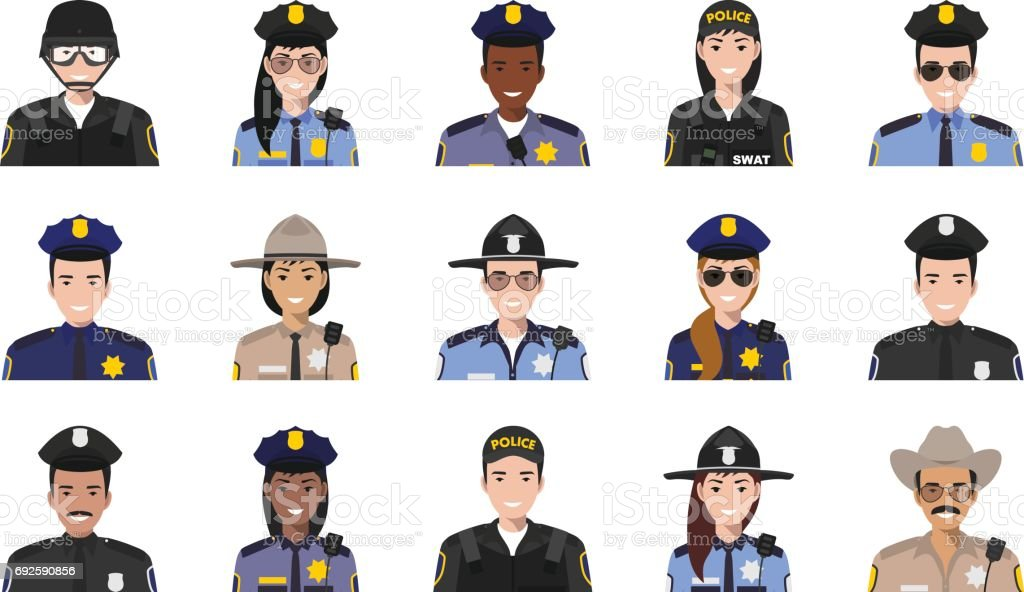 Police people concept. Different policeman and policewoman characters avatars icons set in flat style isolated on white background. Vector illustration vector art illustration