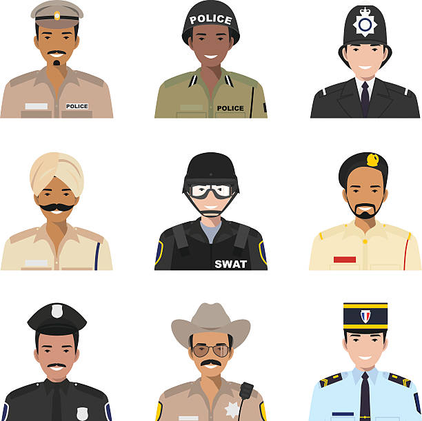 Police people concept. Different policeman characters avatars icons set vector art illustration