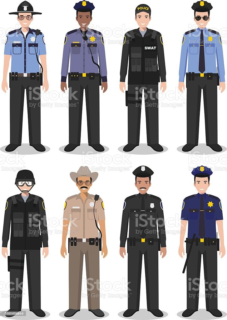 Police people concept of SWAT officer, policeman and sheriff vector art illustration