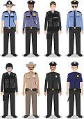 Police people concept of SWAT officer, policeman and sheriff