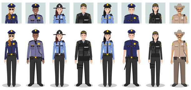 police people concept. set of different detailed illustration and avatars icons of swat officer, policeman, policewoman and sheriff in flat style on white background. vector illustration. - police officer stock illustrations, clip art, cartoons, & icons