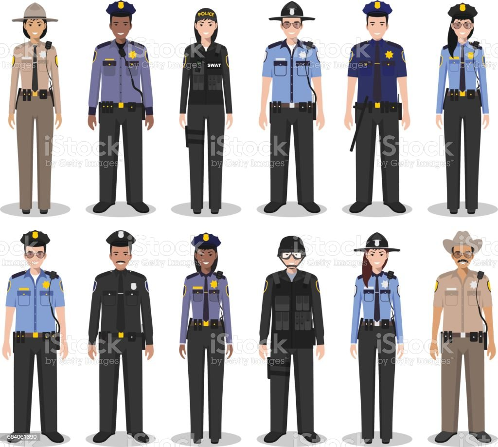 Police people concept. Set of different detailed illustration of SWAT officer, policeman, policewoman and sheriff in flat style on white background. Vector illustration. vector art illustration