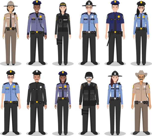police people concept. set of different detailed illustration of swat officer, policeman, policewoman and sheriff in flat style on white background. vector illustration. - police officer stock illustrations, clip art, cartoons, & icons