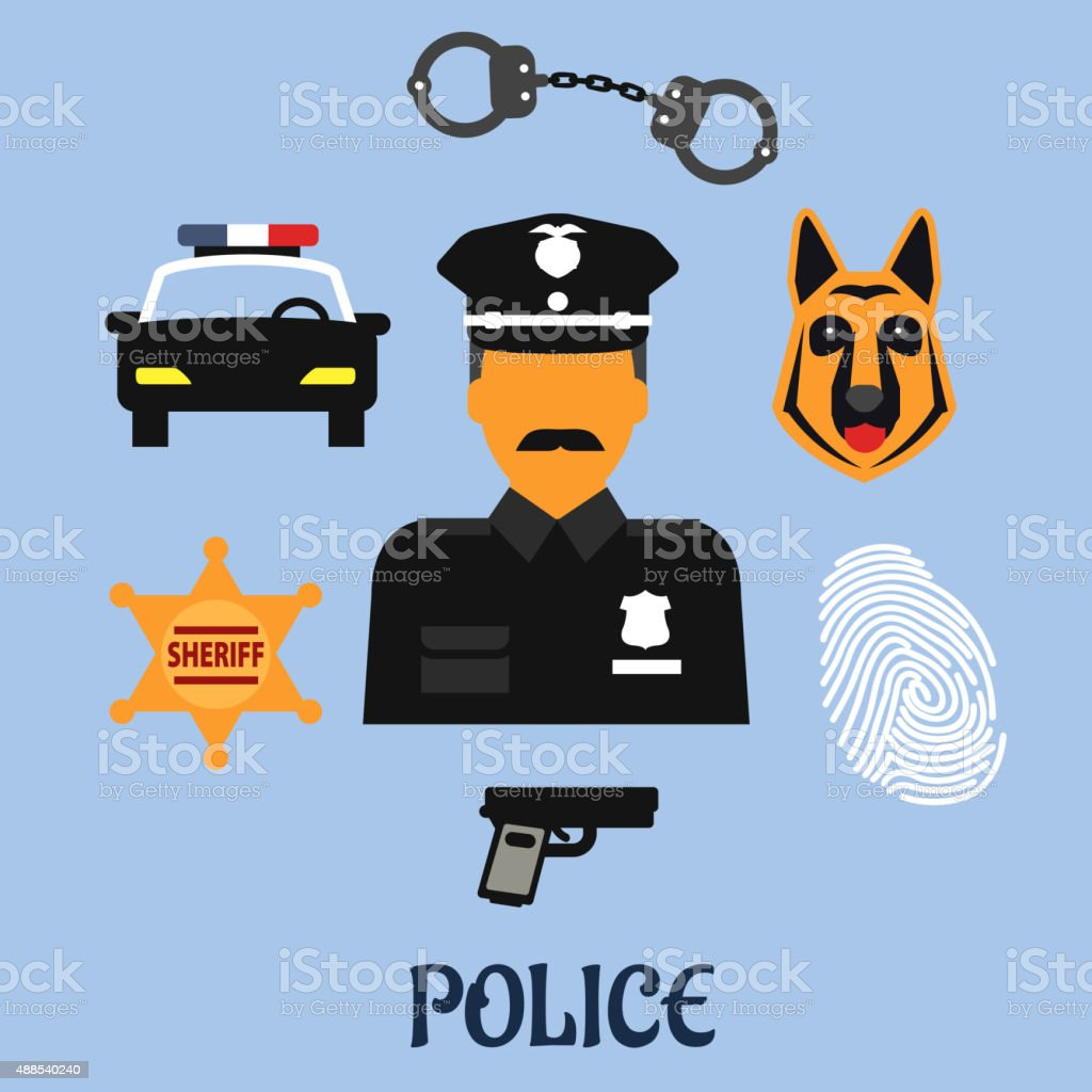Police Profession Flat Icons And Symbols Stock Vector Art More