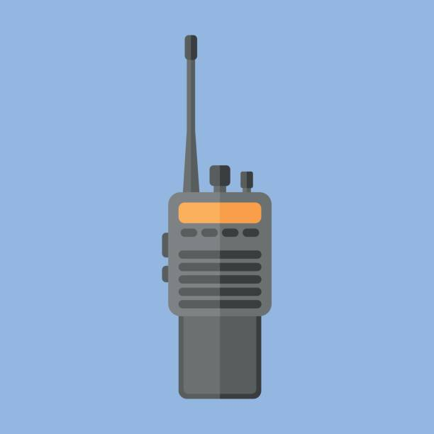 Police radio transceiver set flat icon vector art illustration