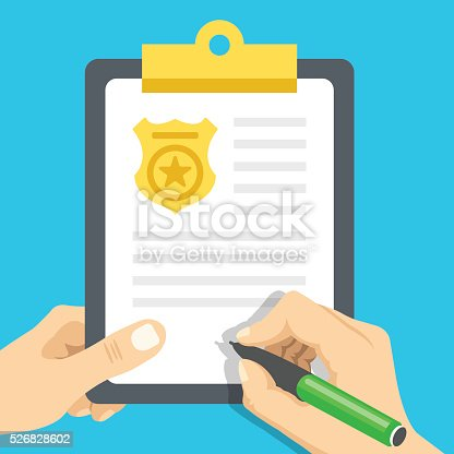 istock Police report. Traffic, parking fine, citation, crime report. Vector illustration 526828602