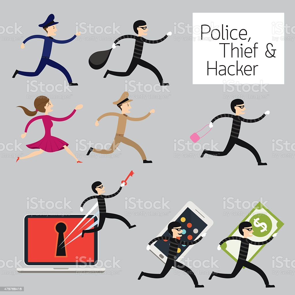 Police run to catch a Thief, Hacker vector art illustration