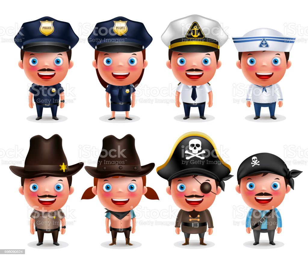Police, seafarers, captain, sheriff, cowgirl and pirates vector character set royalty-free police seafarers captain sheriff cowgirl and pirates vector character set stock vector art & more images of adult