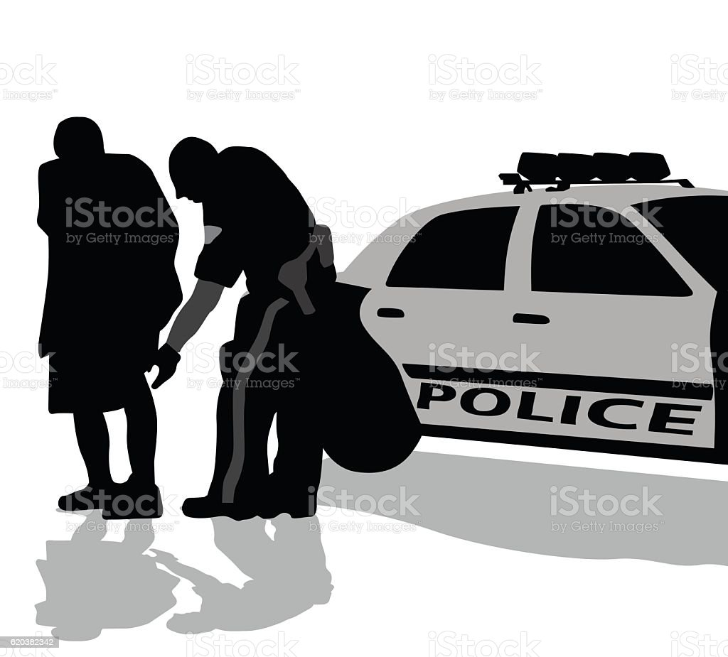 Police Searching Civilian vector art illustration