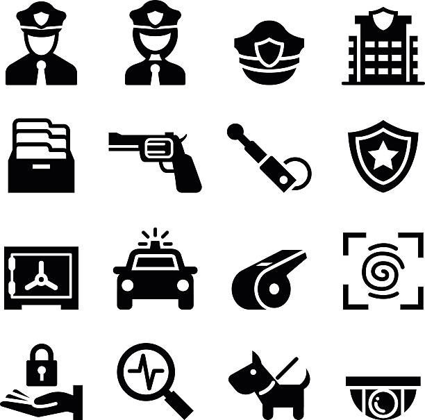 police & security guard icon - police officer stock illustrations, clip art, cartoons, & icons