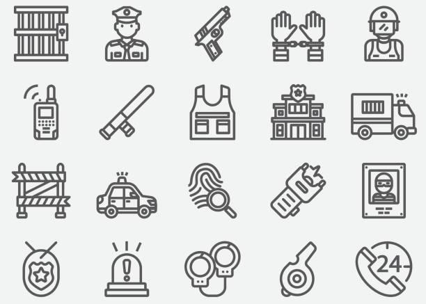 illustrations, cliparts, dessins animés et icônes de police & gardes de sécurité icônes de ligne - commissariat