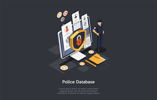 Police Service, Law And Justice, Criminal Concept. The Policeman Protects The Big Screen With Locked Access To Police Database. Security Shield Lock Icon. Colorful 3d Isometric Vector Illustration