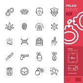 Police service related vector icons - PRO pack