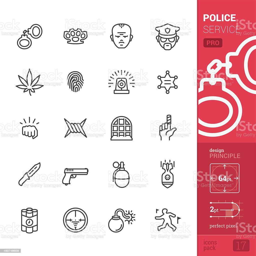 Police service related vector icons - PRO pack vector art illustration