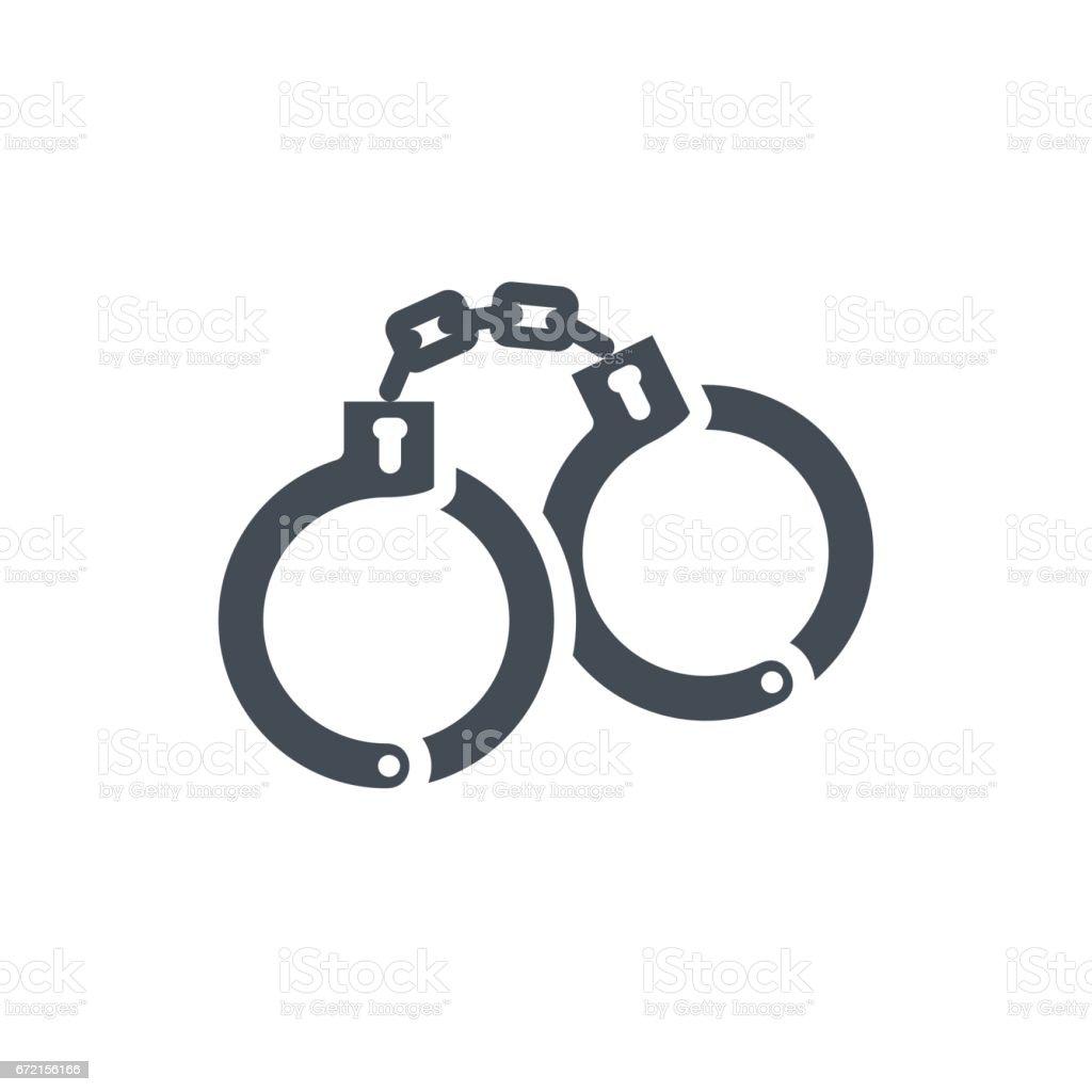 Polícia serviço trabalho silhueta ícone algema - ilustração de arte em vetor