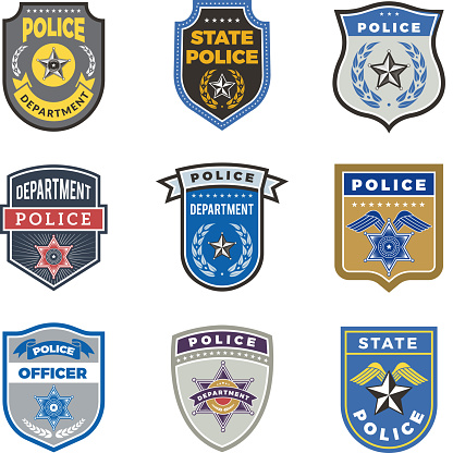 Police shield. Government agent badges and police department officer security vector symbols