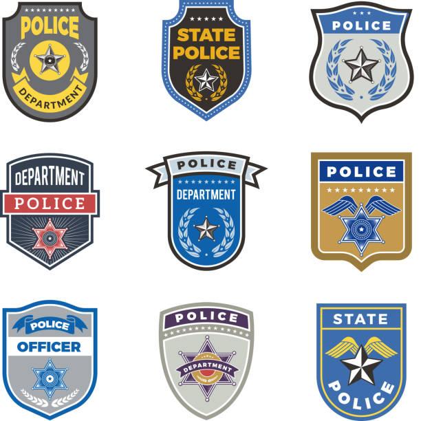 stockillustraties, clipart, cartoons en iconen met politie schild. regering agent badges en politie departement officer veiligheid vector symbolen - patchwork