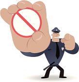Vector illustration - Police showing a prohibition sign and pointing at you.
