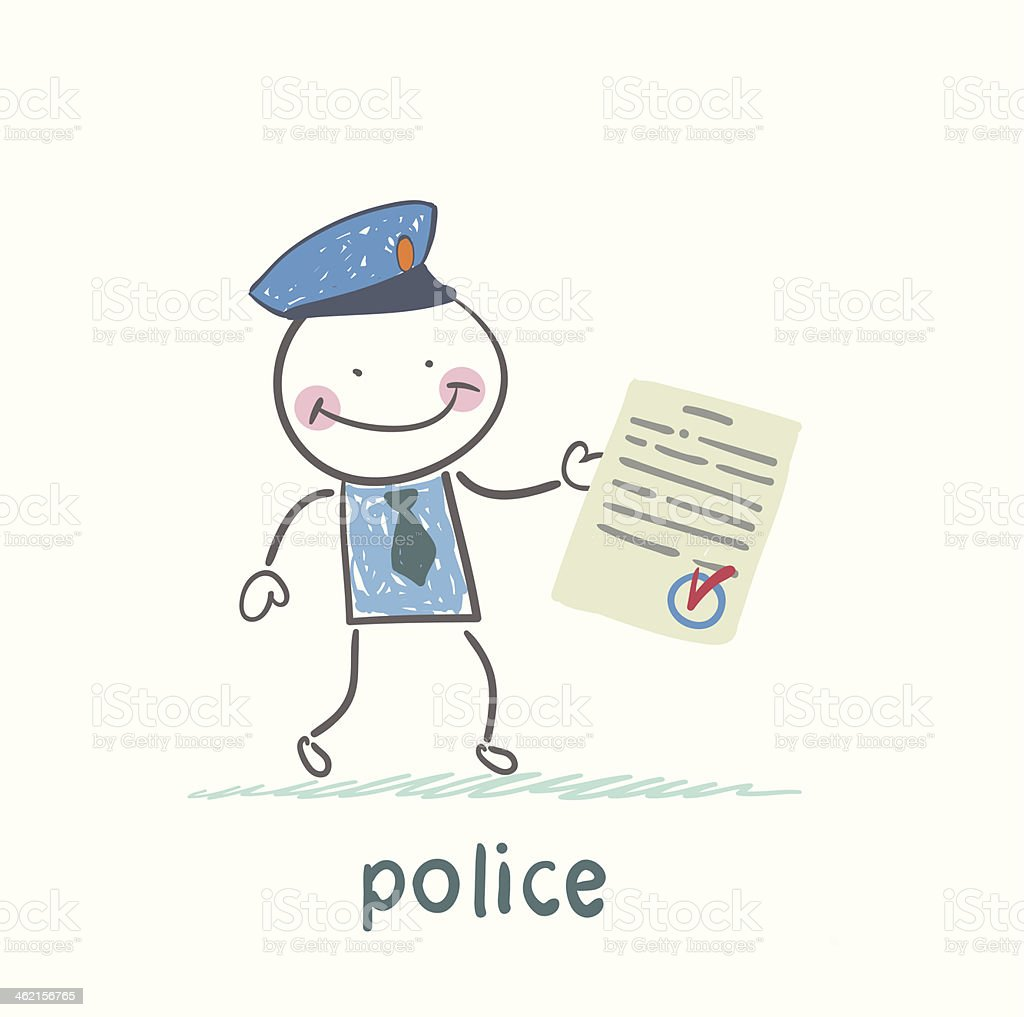 police shows the document vector art illustration