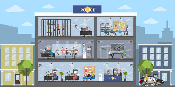 illustrations, cliparts, dessins animés et icônes de intérieur du bâtiment de la poste de police. - bureau police