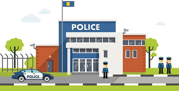 illustrations, cliparts, dessins animés et icônes de poste de police bâtiment seul sur fond blanc - bureau police