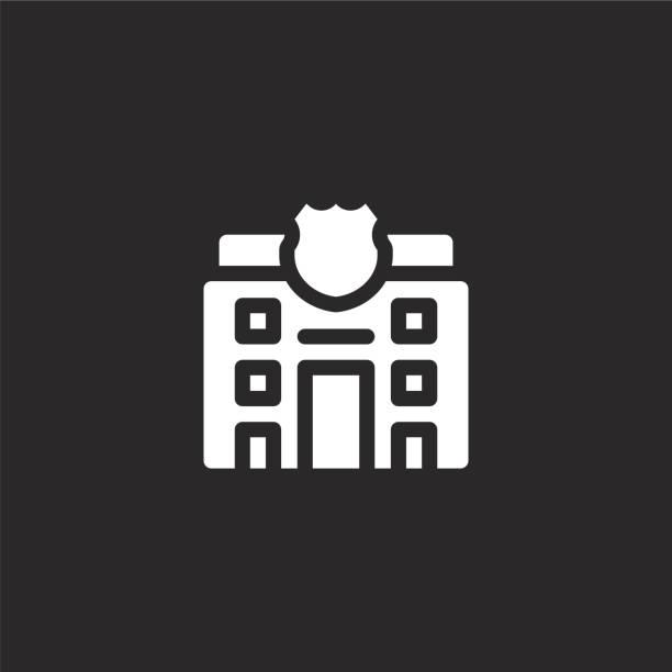 illustrations, cliparts, dessins animés et icônes de icône du poste de police. icône de poste de police rempli pour la conception de site web et mobile, développement d'application. icône de poste de police de la collection remplie de vie de ville d'isolement sur le fond noir. - commissariat