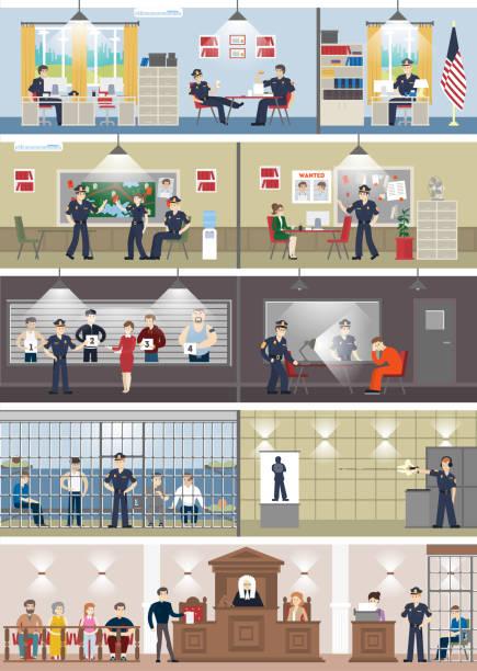 illustrations, cliparts, dessins animés et icônes de commissariat de police intérieure sertie de chambres. - bureau police