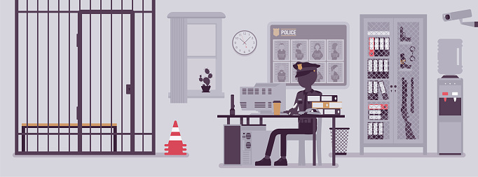 Police station office and a policeman working