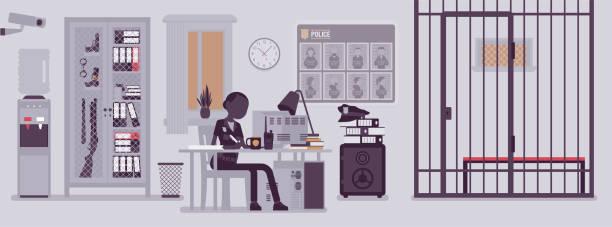 illustrations, cliparts, dessins animés et icônes de bureau de commissariat de police et travail de policière - bureau police
