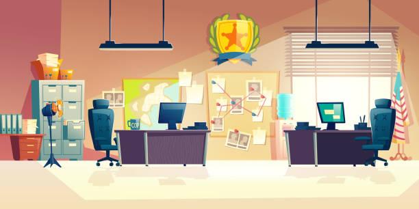 illustrations, cliparts, dessins animés et icônes de vecteur intérieur de dessin animé de salle de bureau de poste de police - bureau police