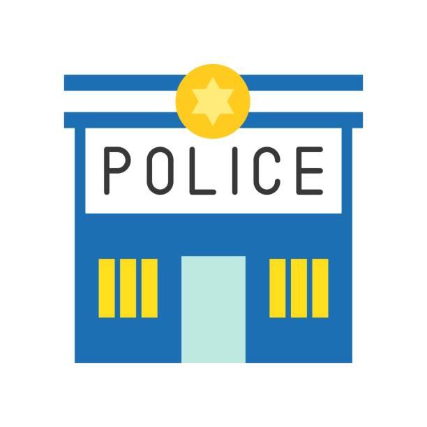 illustrations, cliparts, dessins animés et icônes de poste de police, police associés icône - commissariat