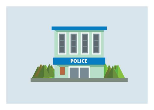 illustrations, cliparts, dessins animés et icônes de commissariat de police simple illustration - commissariat