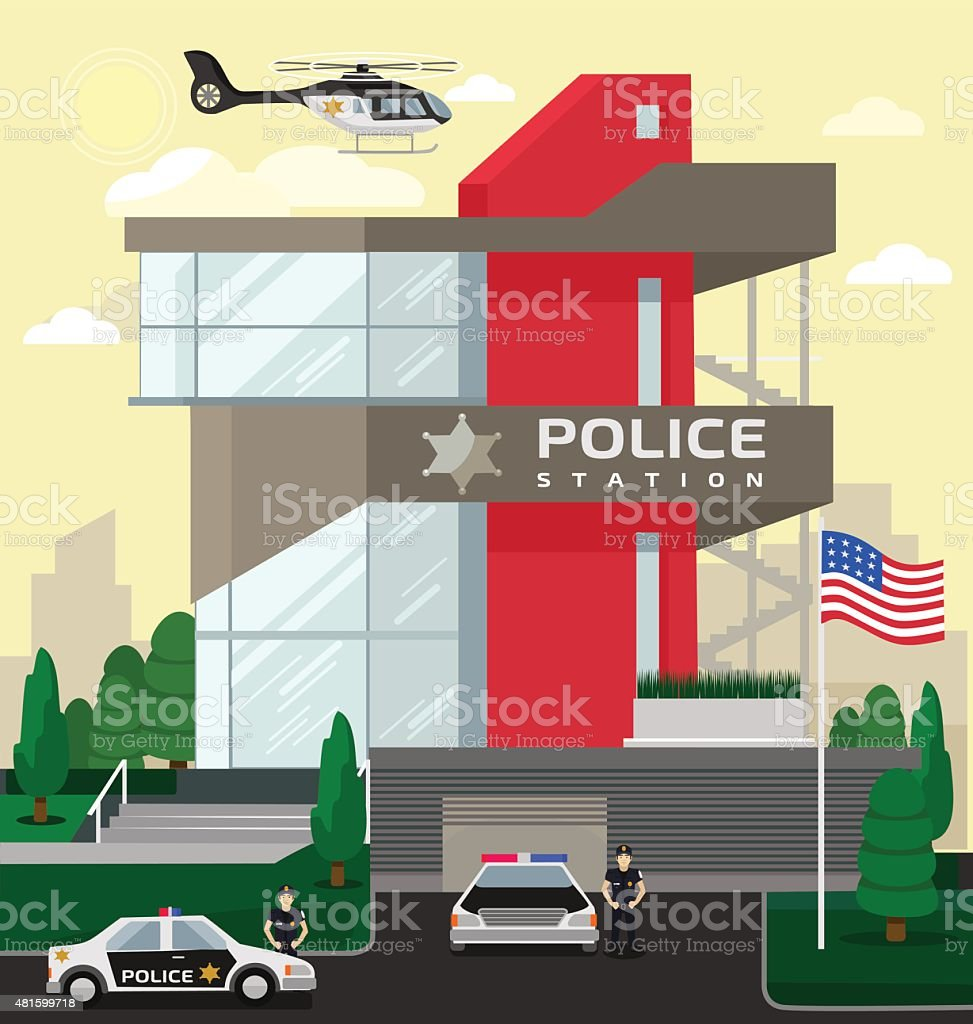 Police station vector art illustration