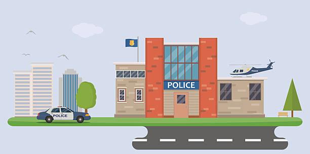 illustrations, cliparts, dessins animés et icônes de commissariat de police - commissariat