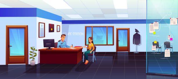 Police station with policeman and girl visitor Police station interior with policeman and girl visitor communicating, man officer listening and writing woman victim or witness testimony, interrogation, testify, cop work Cartoon vector Illustration police meeting stock illustrations