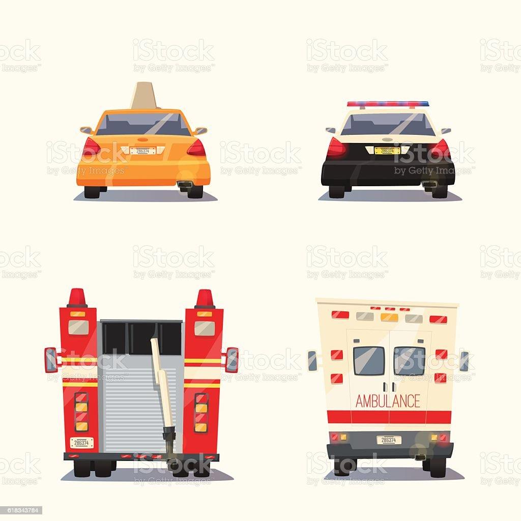 Police, Taxi, Ambulance car and Firetruck. Vector cartoon illustration vector art illustration