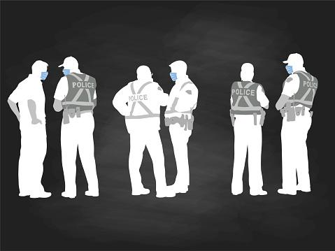 Police Teams Wearing Medical Masks Chalkboard
