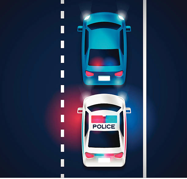 Police Traffic Violation Police traffic stop or chase concept. A police car with it's lights on pulling over a violator. EPS 10 file. Transparency effects used on highlight elements. police car stock illustrations