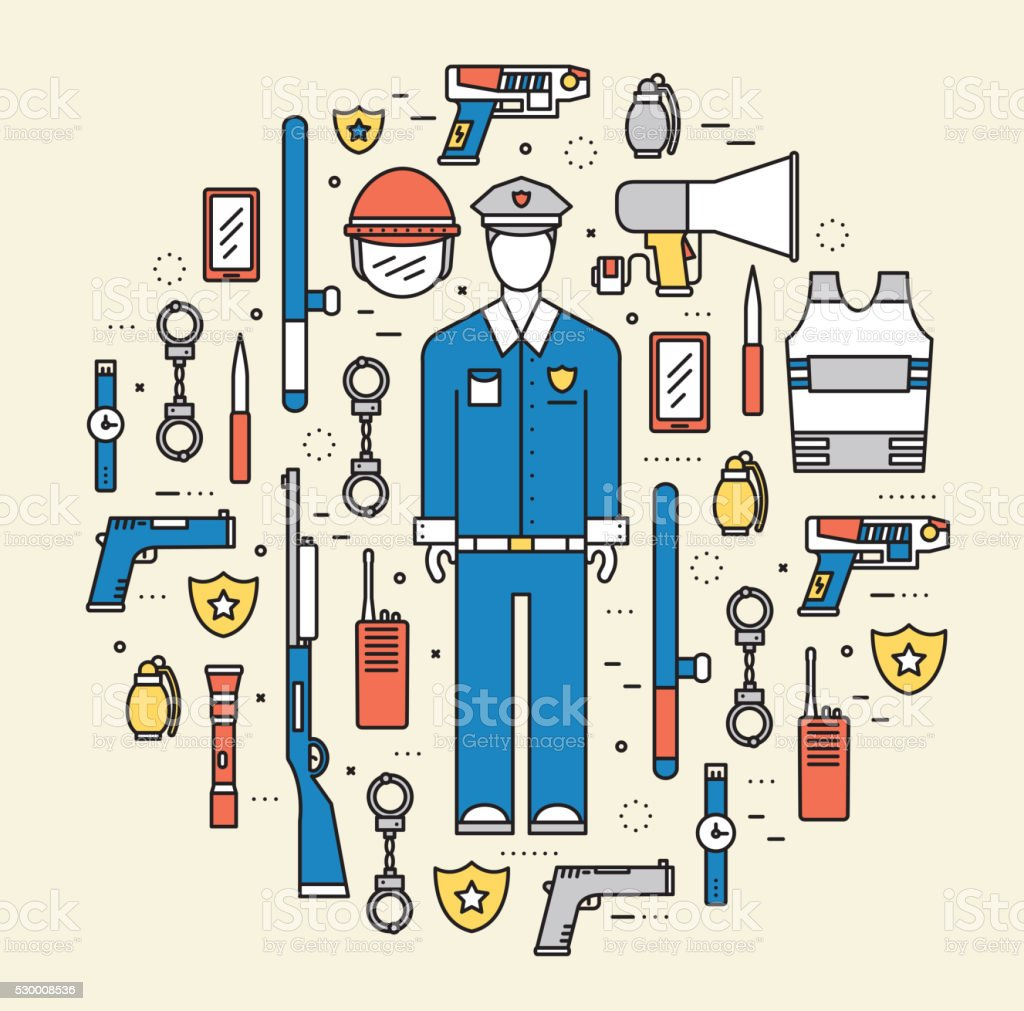 police uniform and  protection staff equipment in the closet office vector art illustration