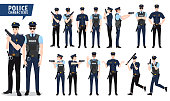 Police vector character set. Policeman characters holding gun in different posture and hand gestures with shooting pose isolated in white. Vector illustration.