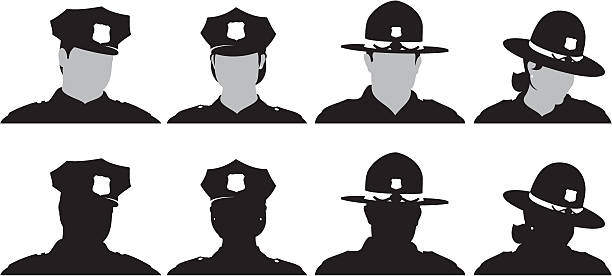 Police Male and female Police and State Trooper silhouette set trooper stock illustrations