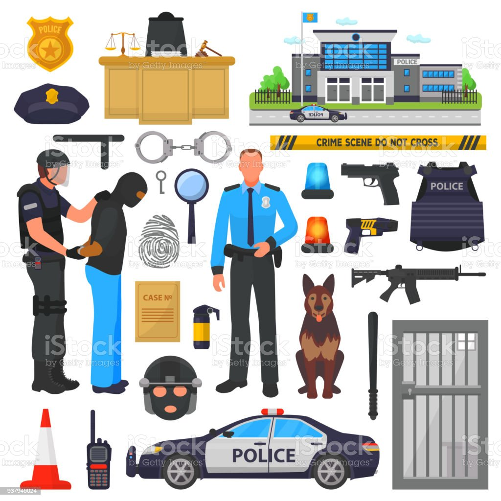 Police vector policeman character and policeofficer in bulletproof vest with handcuffs in police-office illustration set of or policy signs and police car isolated on background vector art illustration
